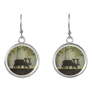 Moose in Forest Illustration Earrings