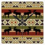 Moose Wildlife Animal Red Green Ochre Ikat Stripes Square Wall Clock
