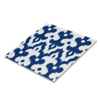 Moroccan Ikat Damask Pattern, Cobalt Blue & White Ceramic ...