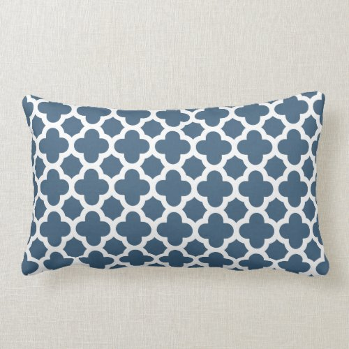 Moroccan Quatrefoil Pattern Dark Denim Blue Lumbar Pillow