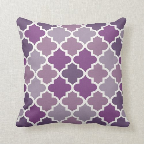 Moroccan Quatrefoil Tile Pattern | Purple Shades Throw Pillow