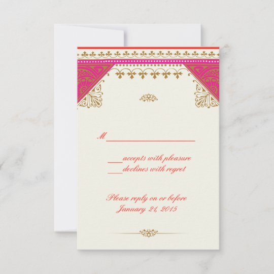 Moroccan Themed Wedding Invitation Rsvp Reply Card
