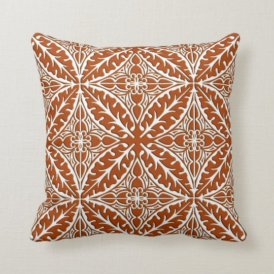 Moroccan tiles  rust brown and white throw pillow