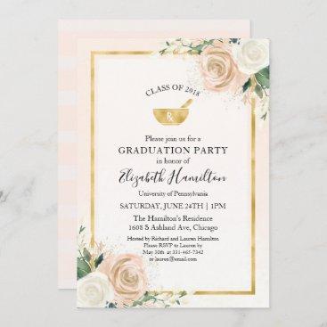Mortar Pestle Rx Pharmacy School Grad Party Blush Invitation