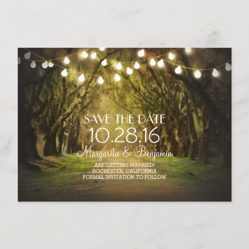Moss Tree Path Rustic String Lights Save the Date