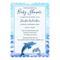 Mother and Baby Dolphin Ocean Theme Baby Shower Card
