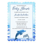 Mother and Baby Dolphin Ocean Theme Baby Shower Invitation