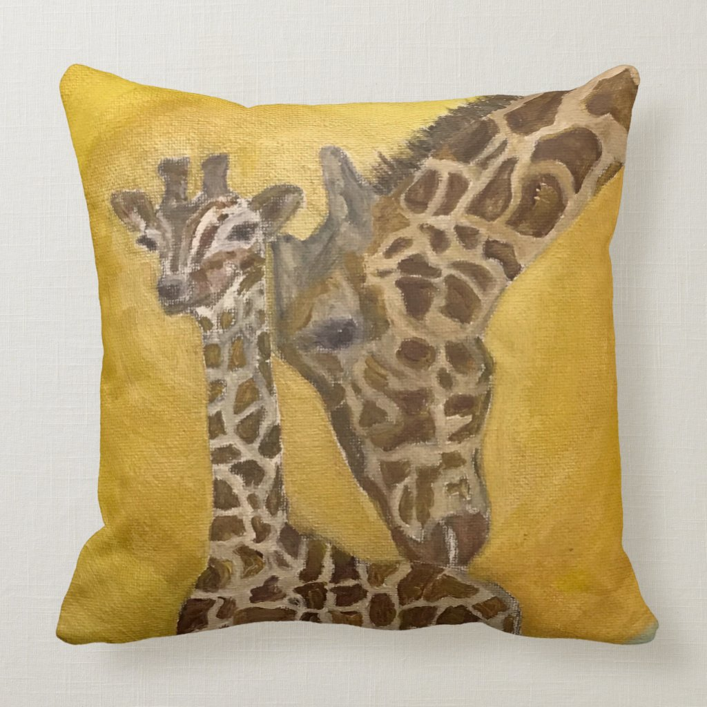 Mother and Child Giraffes Throw Pillow