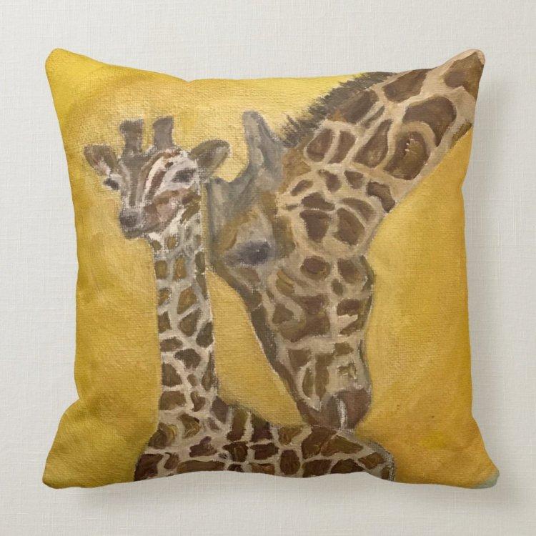 Mother and Child Giraffes Throw Pillow