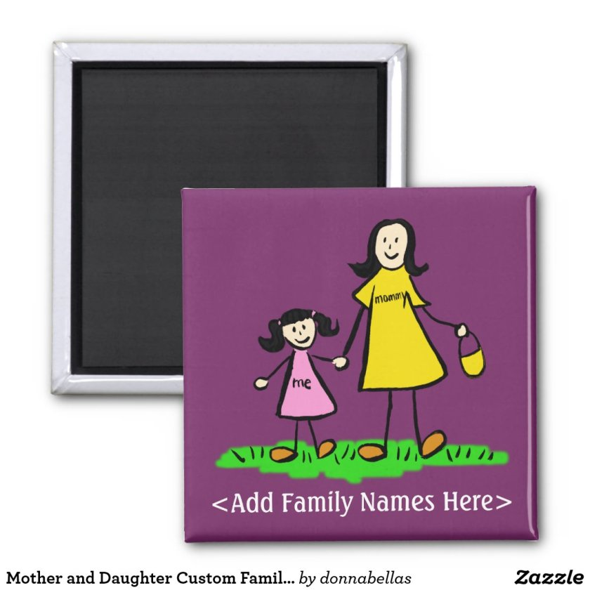 Mother and Daughter Custom Family Character Magnet