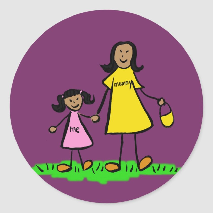 Mother and Daughter Family Characters Art Stickers
