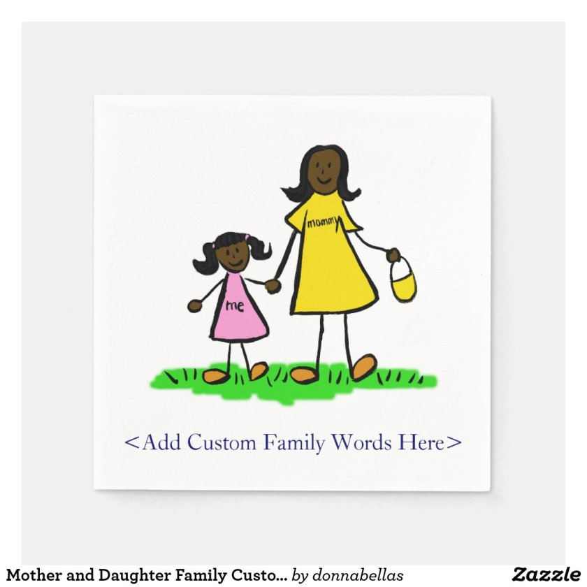 Mother and Daughter Family Custom Art Napkins