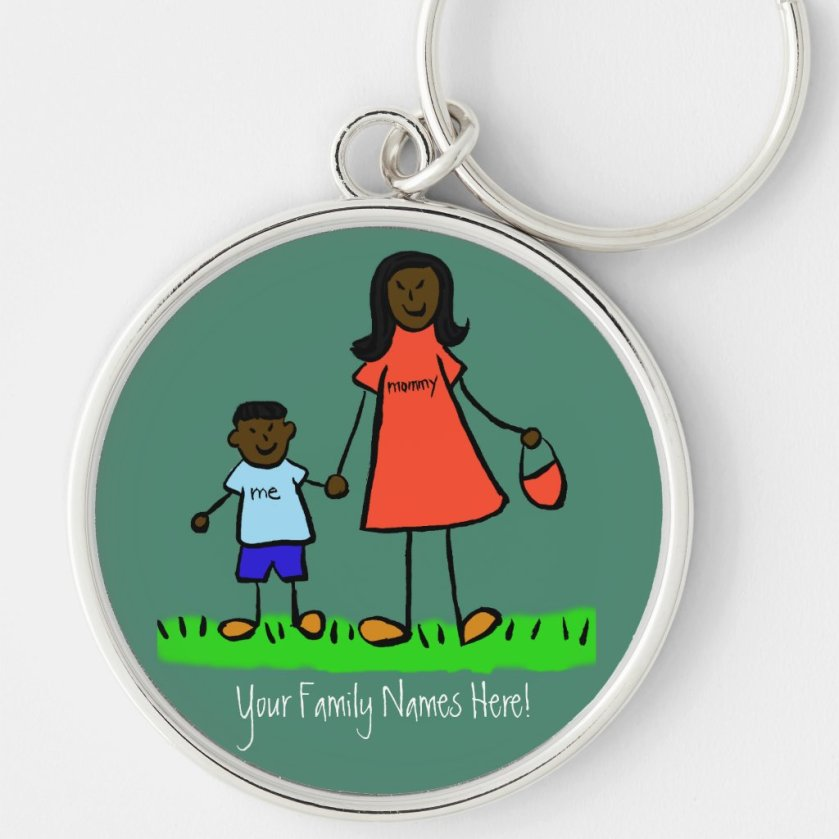 Mother and Son Custom Family Characters Keychain