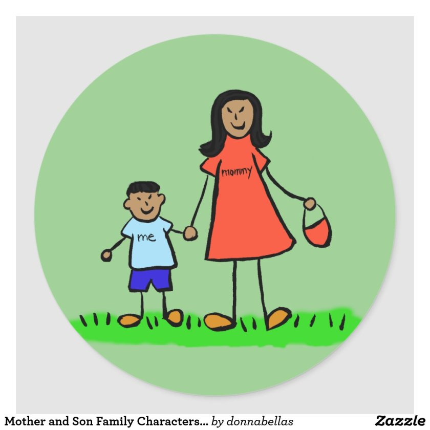 Mother and Son Family Characters Mommy Stickers
