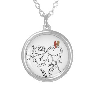 Mother's Day: Love Birds in Heart Tree Silver Plated Necklace