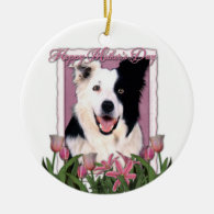 Mothers Day - Pink Tulips - Border Collie Christmas Ornament