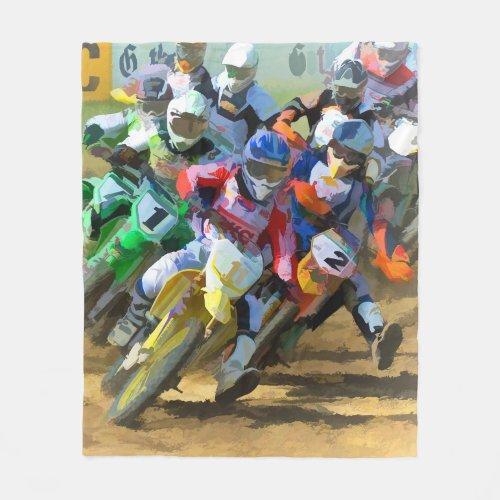 Motocross Race Graphic Art Fleece Blanket