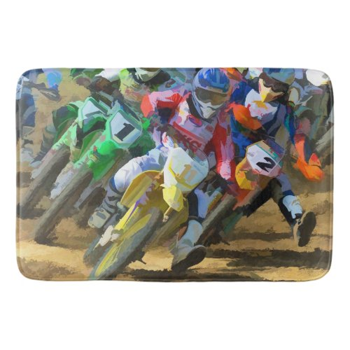 Motocross Racing Digital Art Bath Mat