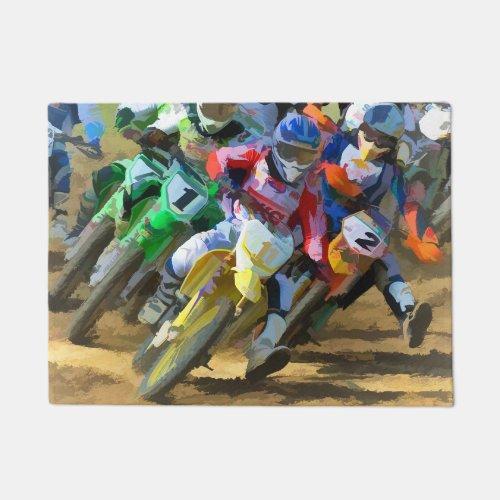 Motocross Racing Digital Art Doormat