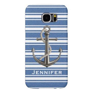 Mottled Calypso Blue Striped Anchor Samsung Galaxy S6 Case