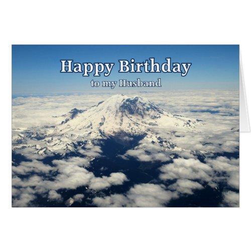 Mount Rainier, Washington, Husband Happy Birthday card