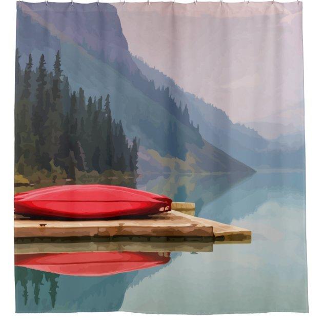 mountain lake red canoe peaceful landscape shower curtain zazzle com