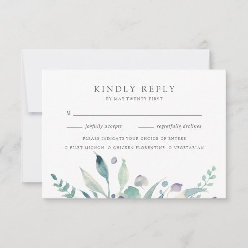 Mountain Meadow   Watercolor Botanical Meal Choice RSVP Card