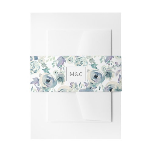 Mountain Meadow Watercolor Floral Pattern Monogram Invitation Belly Band