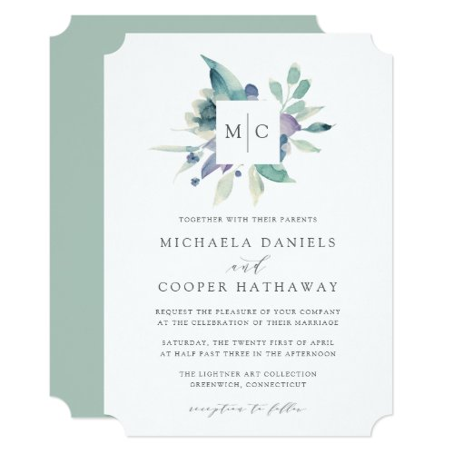 Mountain Meadow | Watercolor Monogram Wedding Invitation