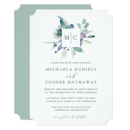 Mountain Meadow | Watercolor Monogram Wedding Invitation