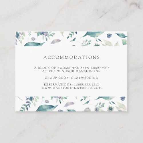 Mountain Meadow   Wedding Hotel Accommodation Enclosure Card