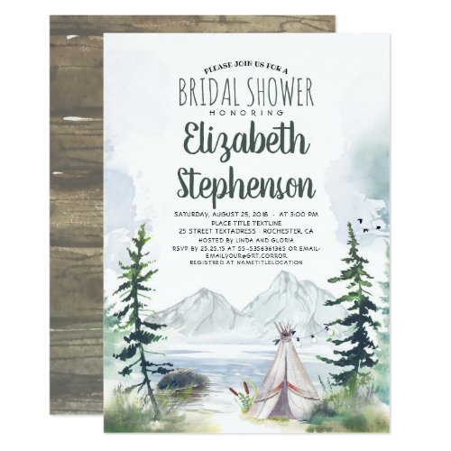 Mountains Adventure Boho Rustic Bridal Shower Invitation