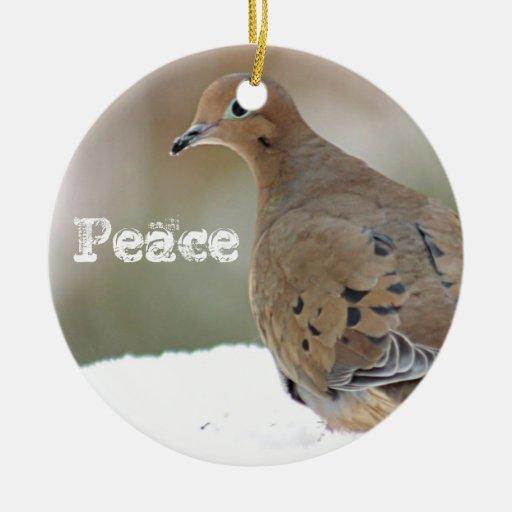 Mourning dove ceramic ornament