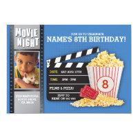 Movie Night Film Cinema Birthday Party Photo Card