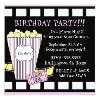 Movie Night Popcorn Film Strip Party In Pink Card