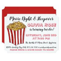 Movie Night Sleepover Popcorn Birthday Party Red Card