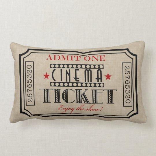 Movie Theater Ticket Pillow red accent Lumbar Pillow