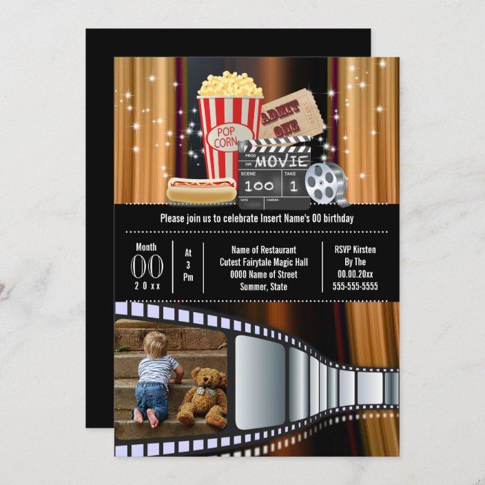 movie theme photo film cinema popcorn party invitation zazzle com