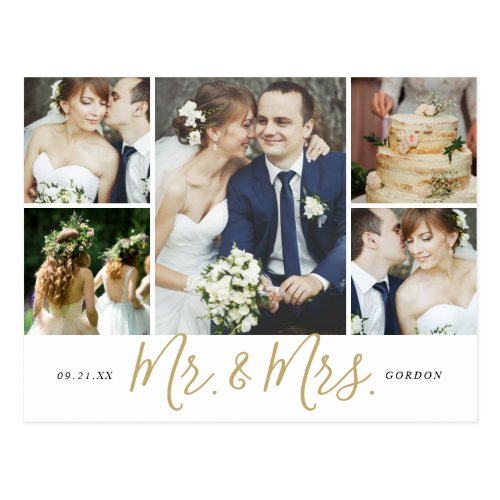 Mr. and Mrs. 5 Photo Collage Wedding Thank You Postcard