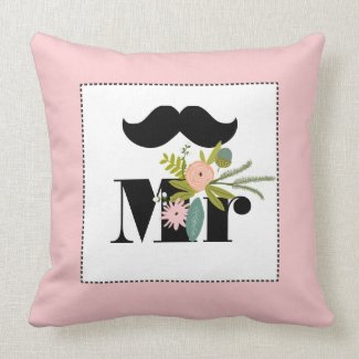 Mr groom Peachy Mustache Flora and Fauna Pillow