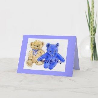 Mr. McCuddles and Blue Bear Happy Birthday Card