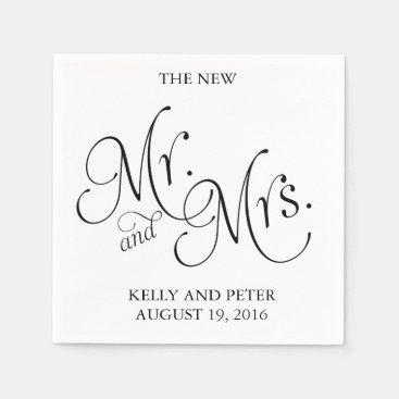 Mr. & Mrs.| Classic Black and White Paper Napkins