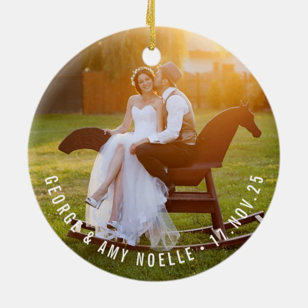 Mr  Mrs First Christmas Wedding Photo Ornament  Zazzle
