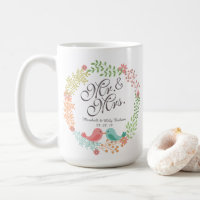 Mr. & Mrs. Floral w/ Birds Wedding Classic Mug
