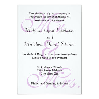 Mr Mrs Purple Wedding Invitation
