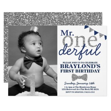 Mr Onederful Photo Invitation, Blue and Silver Card