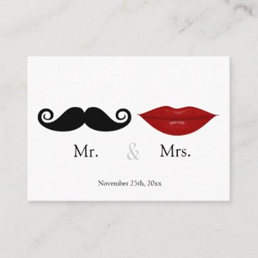 Mr. & the Mrs (Lips and the Stache) Wedding RSVP Enclosure Card