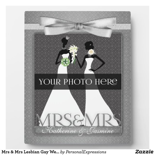 Mrs & Mrs Lesbian Gay Wedding Photo Frame in Silve
