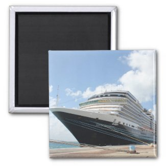 MS Nieuw Amsterdam Cruise Ship on Aruba Fridge Magnets