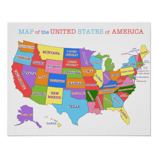 MultiColored Map Of the United States Poster Zazzle